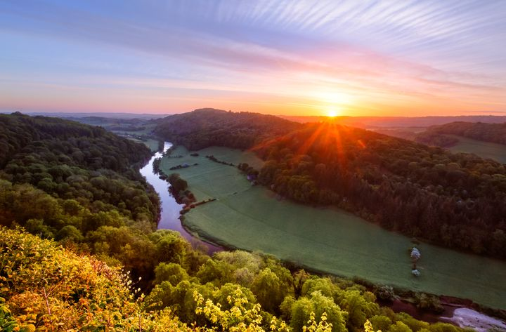 Sunrise over the River Wye in Gloucestershire, England.