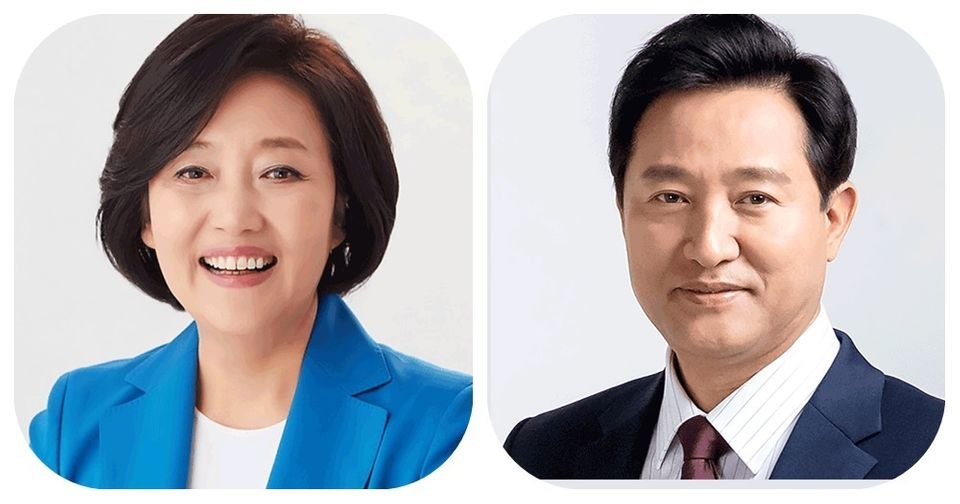 박영선 더불어민주당 서울시장 후보(좌)/오세훈 국민의힘 서울시장