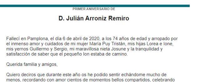 La esquela de primer aniversario publicada en 'El Diario
