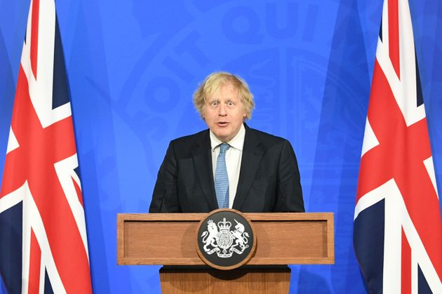 Prime Minister Boris Johnson, during a media briefing in Downing Street, London, on coronavirus (Covid-19). Picture date: Monday April 5, 2021.