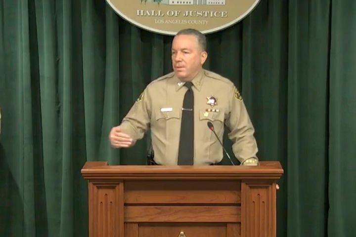 In this image take from a livestream video feed provided by the Los Angeles County Sheriff's Department, Sheriff Alex Villanu