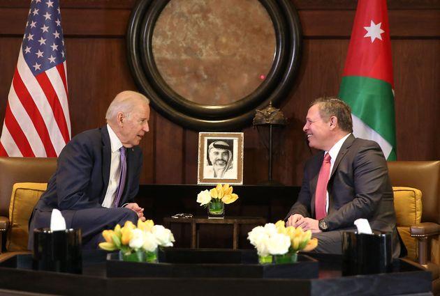 L'ancien vice-président de Barack Obama Joe Biden rencontrait le roi Abdullah II en Jordanie le 10 mars...