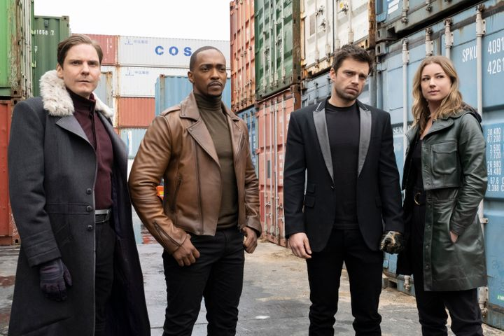 "Daniel Bruhl, Mackie, Sebastian Stan and VanCamp in ""The Falcon and the Winter Soldier."""