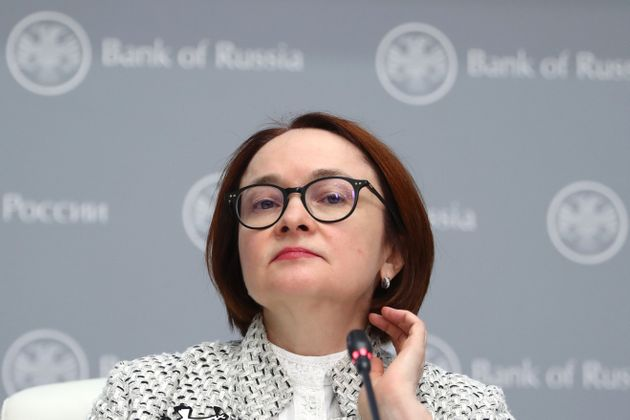 MOSCOW, RUSSIA  FEBRUARY 7, 2020: Russian Central Bank Governor Elvira Nabiullina gives a press conference to sum up a board meeting on monetary policy. Stanislav Krasilnikov/TASS (Photo by Stanislav Krasilnikov\TASS via Getty Images)