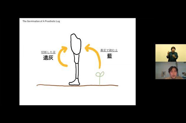 """""""発芽する義足""""という名のオリジナル義足づくりについて話す、キュレーターの青木彬さん。"""