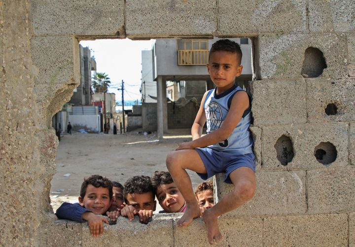 GAZA CITY, April 5, 2021 -- Palestinian children in an alley in Al-Shati refugee camp in Gaza City.