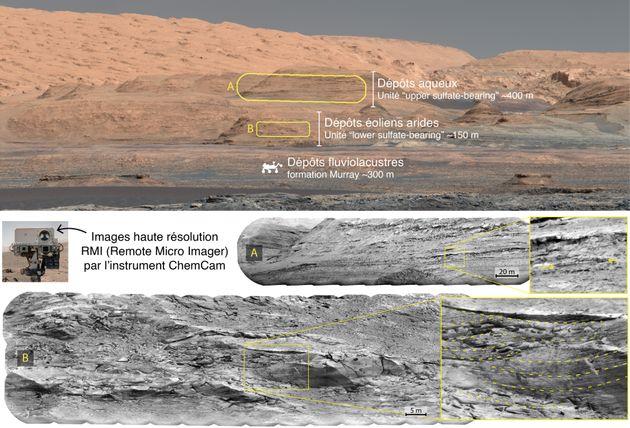 Photographies des différentes couches de sédiments relevées par le rover