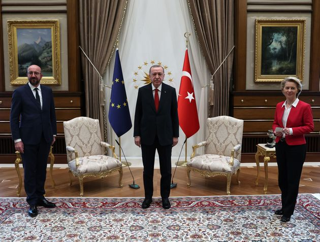 ANKARA, TURKEY - APRIL 06: Turkish President Recep Tayyip Erdogan (C) receives EU Council President Charles...