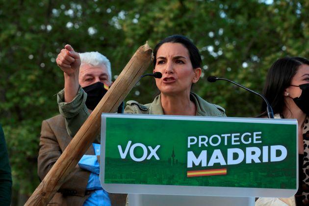 La candidata de Vox en las elecciones del 4-M, Rocío Monasterio, en
