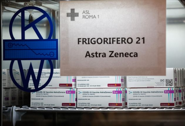 AstraZeneca doses of vaccine anti-Covid-19 are delivered at the Roma 1 local health authority headquarter,...