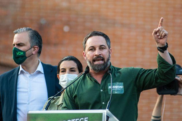 Santiago Abascal, durante el acto de Vox en Vallecas