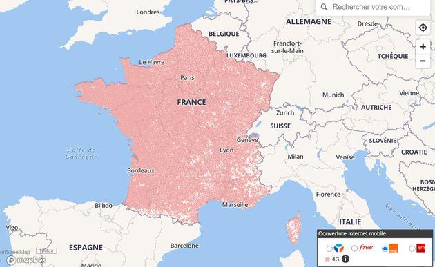 La couverture mobile 4G en France en avril 2021 selon les données de