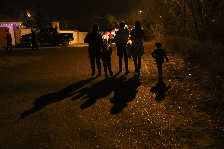 Migrants, departing from Honduras, Guatemala and El Salvador are seen after crossing the Rio Grande River, in Texas, United S