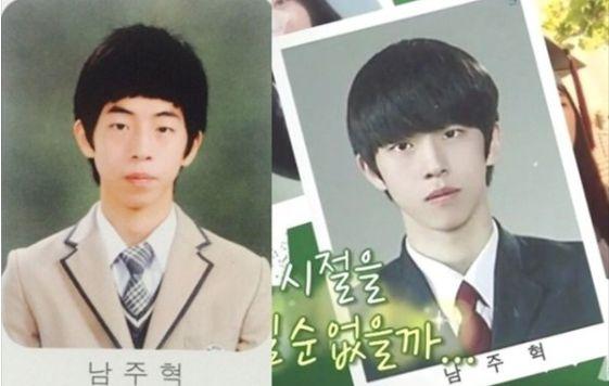 남주혁의 중학교 졸업사진(왼쪽)과 고등학교