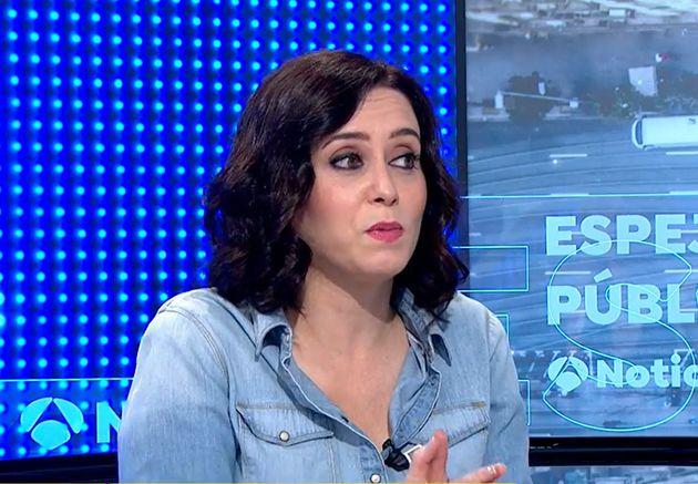 La presidenta madrileña, durante la entrevista en el programa de Antena
