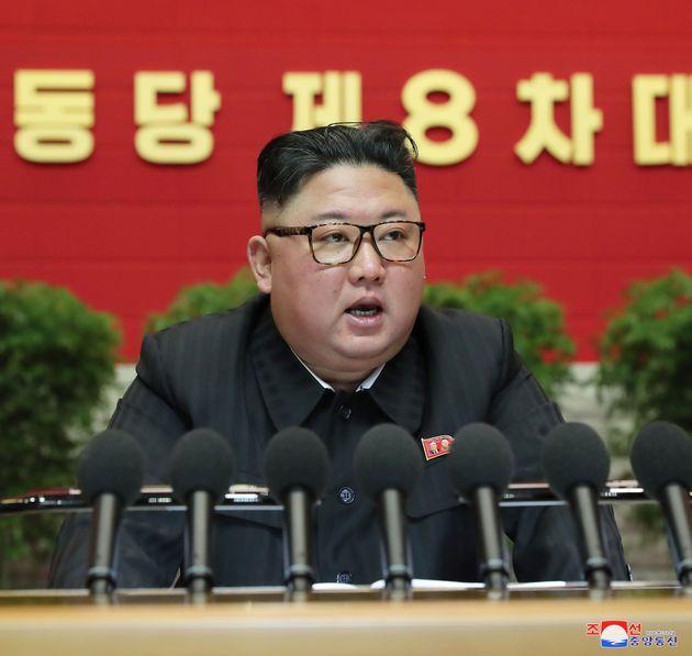 09/01/2021 Pyongyang. Kim Jong Un, il leader della Repubblica Democratica Popolare di Corea (DPRK), parla...