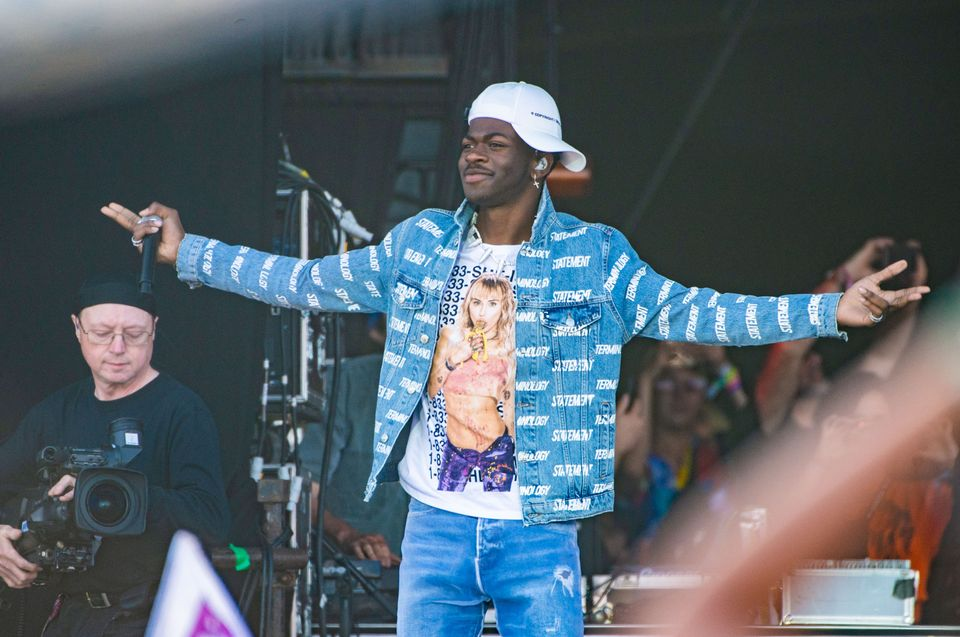 Lil Nas X performs at the Pyramid Stage at Glastonbury Festival, the same day he came