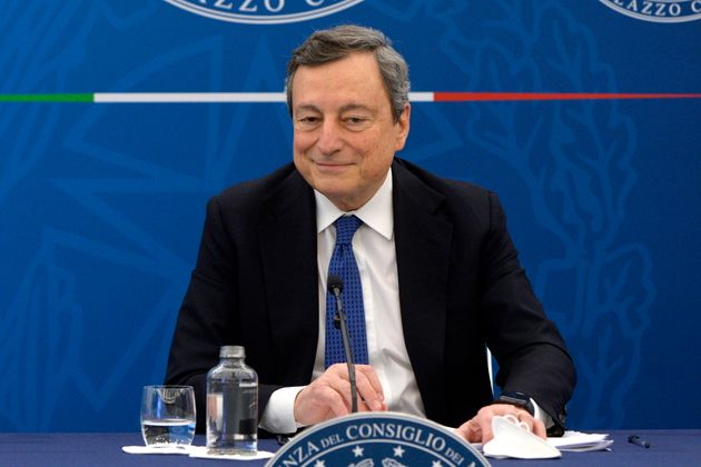 The Italian premier Mario Draghi during a press conference about the last European Council and about...