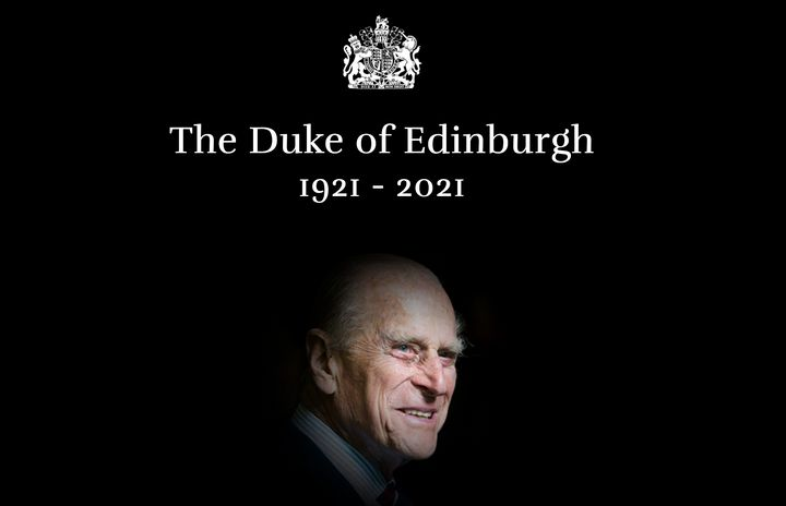 An image from the Royal Family's website announcing that the Duke of Edinburgh had died.