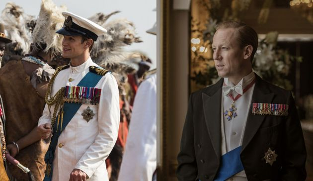Les acteurs Matt Smith (à gauche) et Tobias Menzies (à droite) dans le rôle du prince...