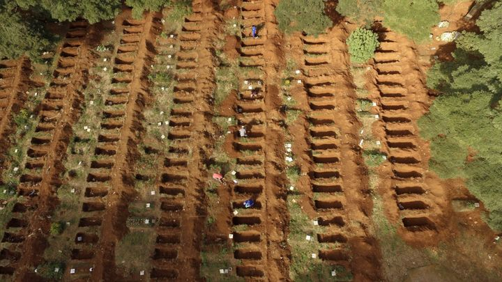SAO PAULO, BRAZIL - APRIL 8: A view of graves dug for victims who died of the novel coronavirus (Covid-19) pandemic in Sao Pa