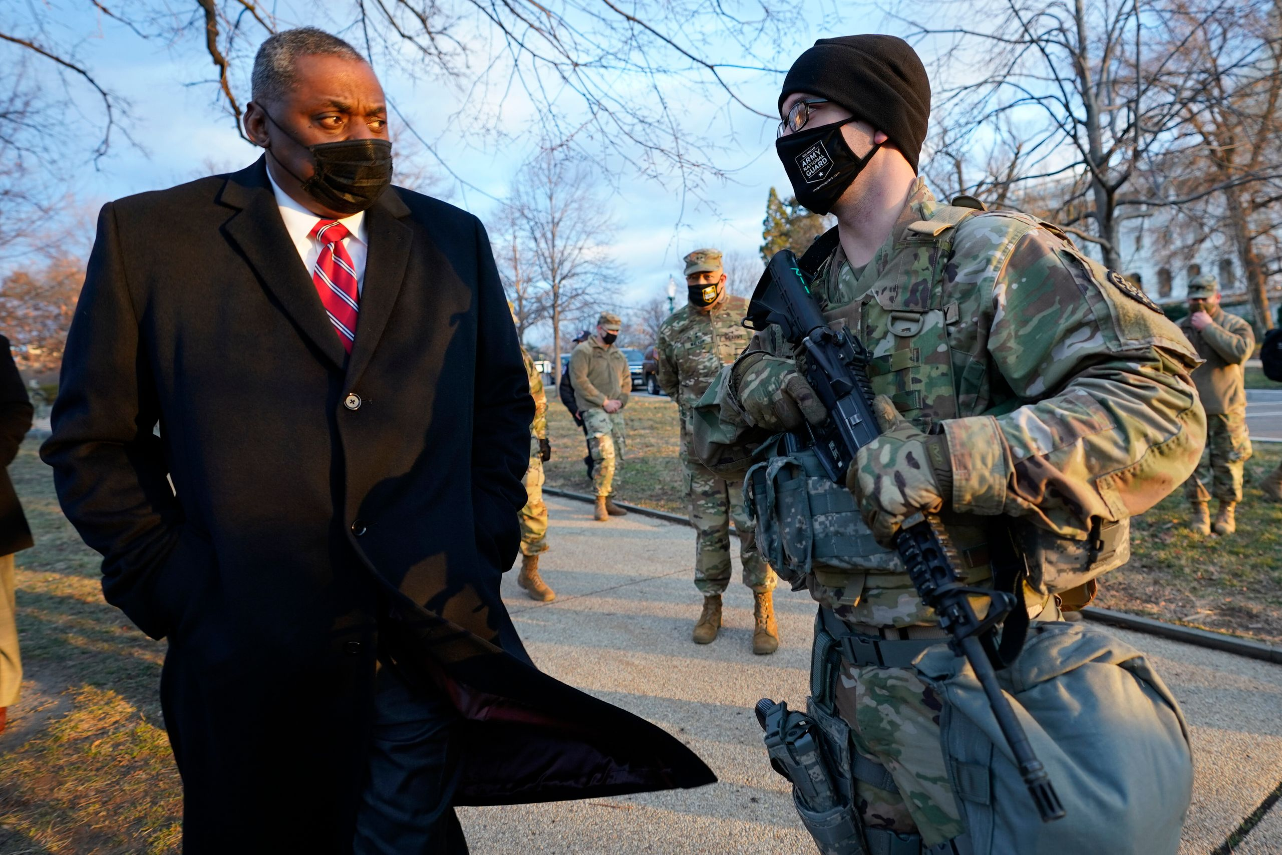 Secretary of Defense Lloyd Austin visits National Guard troops deployed at the U.S. Capitol on Jan. 29, 2021.