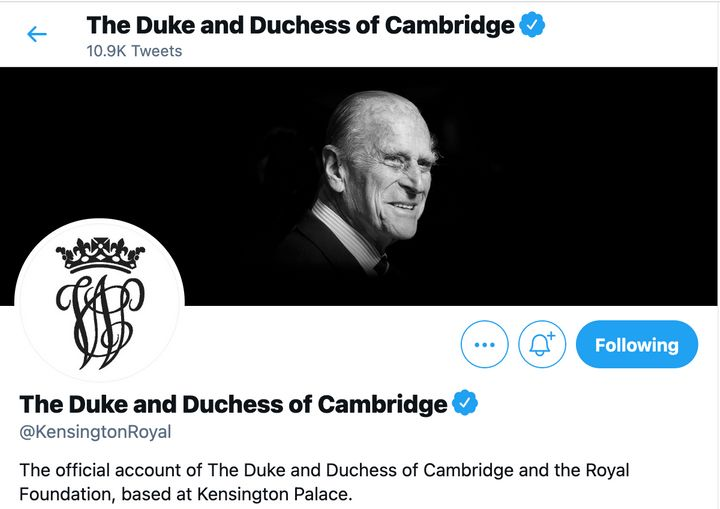 A shot of Prince William and Kate Middleton's Twitter account changes.