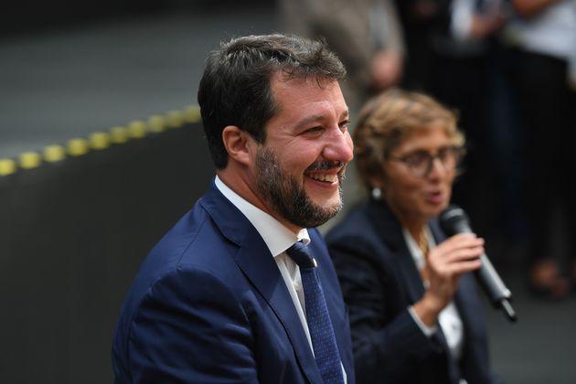 03/10/2020 Catania, conferenza stampa del Leader della Lega Matteo Salvini con il suo legale Giulia Bongiorno...