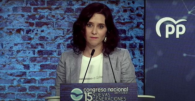 Isabel Díaz Ayuso, durante un acto electoral del