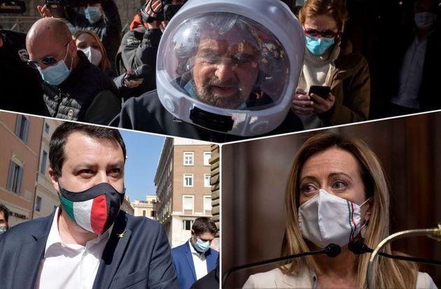 Beppe Grillo, Matteo Salvini e Giorgia