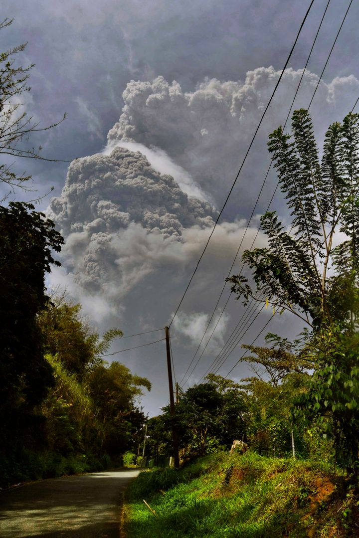 Plumes of ash rise from the La Soufriere volcano as it erupts on the eastern Caribbean island of St. Vincent, as seen from Ch