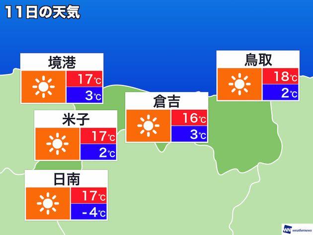 11日(日) 鳥取県の天気予報