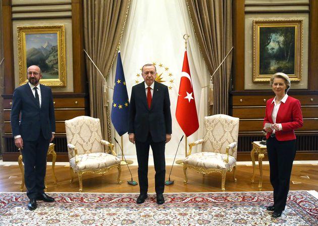 ANKARA, April 6, 2021 -- Turkish President Recep Tayyip Erdogan C meets with European Council President...
