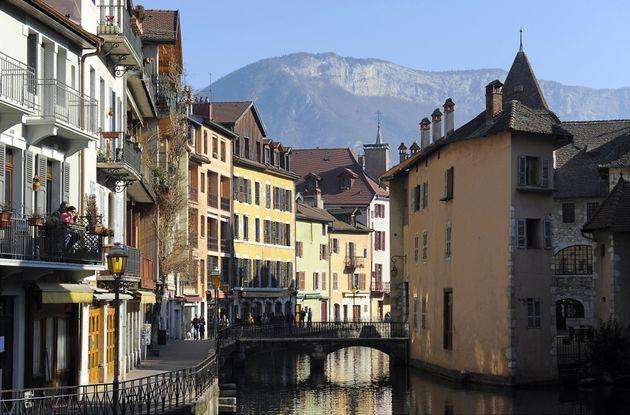 Le centre-ville d'Annecy le 10 février