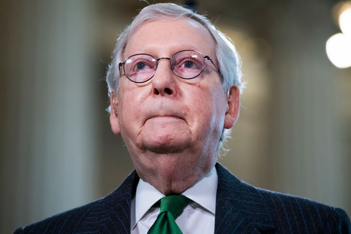 "Senate Minority Leader Mitch McConnell (R-Ky.), seen on March 17, was reportedly called a ""dumb son of a bitch"" by Trump."