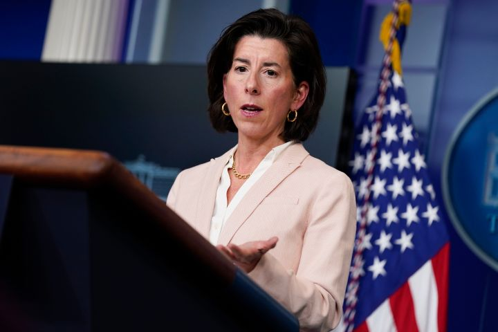 In this April 7, 2021, file photo Commerce Secretary Gina Raimondo speaks during a press briefing at the White House in Washi