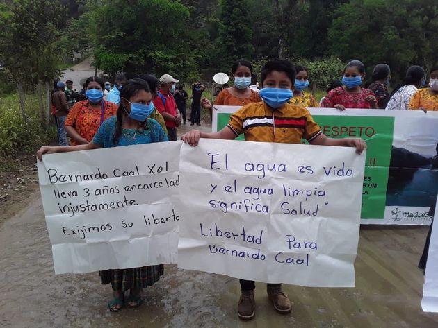 Manifestación por el líder indígena Bernardo Caal