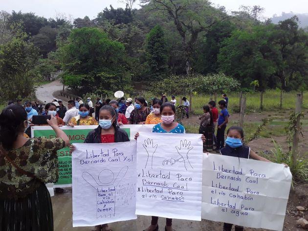 Manifestación en apoyo de Bernardo Caal