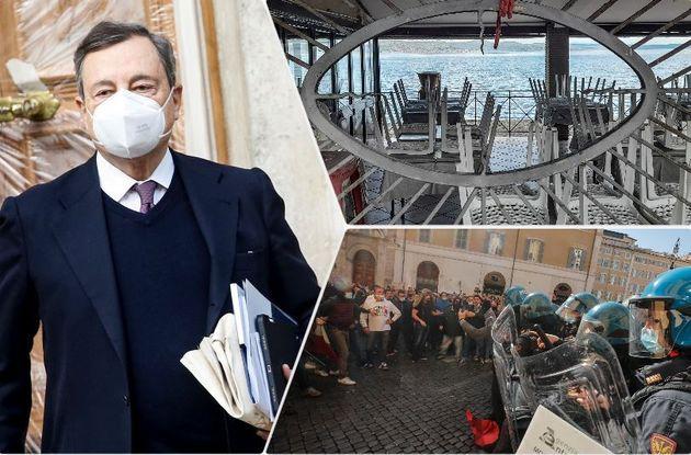 A sinistra Mario Draghi. A destra in alto un ristorante chiuso sul lago di Bracciano, in basso la manifestazione...