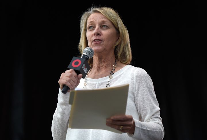 """LAS VEGAS, NV - OCTOBER 25:  Nevada Secretary of State Barbara Cegavske speaks on stage during Global Citizen's """"Show Up and"""
