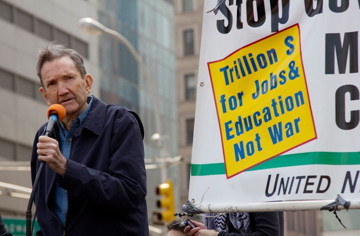 Ramsey Clark, former United States Attorney General addressed the crowd at the April 9th 2011 anti-war rally in NYC organized