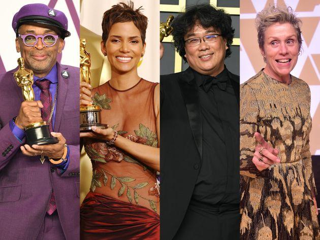 左から、スパイク・リーさん、ハル・ベリーさん、ポン・ジュノさん、フランシス・マクドーマンドさん。いずれもアカデミー賞受賞時の様子。