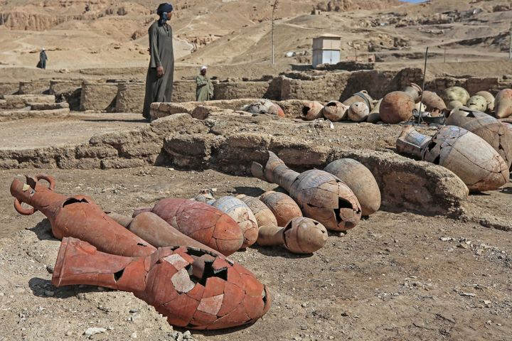 Ancient Egyptian artifacts seen at the site of the newly discovered Aten in present-day Luxor.