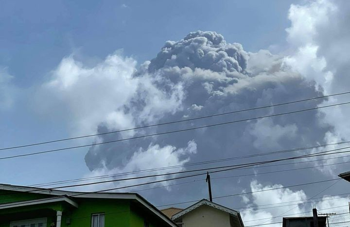 This April 9, 2021, image courtesy Zen Punnett shows the eruption of La Soufriere Volcano from Rillan Hill in St. Vincent.&nb