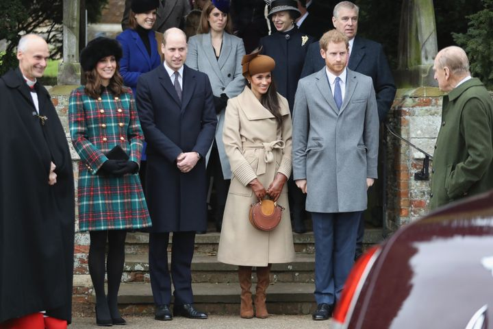 The royals attend Christmas Day Church service at Church of St Mary Magdalene on Dec. 25, 2017 in King's Lynn, England.