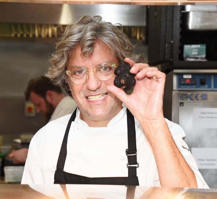 LONDON, ENGLAND - MARCH 05:  Giorgio Locatelli prepares food in the kitchen at Who's Cooking Dinner? 2018, a charity dinner featuring 20 of the capital's finest chefs cooking for 200 diners in aid of leukaemia charity Leuka, at the Rosewood London on March 5, 2018 in London, England.  (Photo by David M. Benett/Dave Benett/Getty Images)