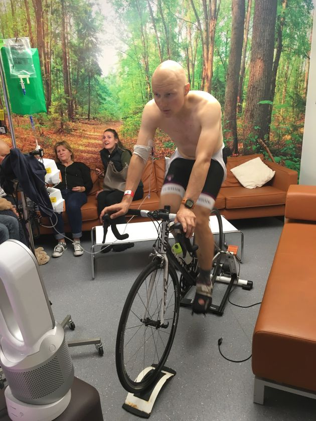 The author cycling in hospital whilst on chemotherapy.