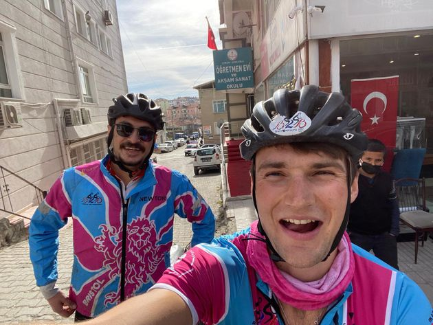 The author cycling with Anil Lokman in Turkey, February 2021