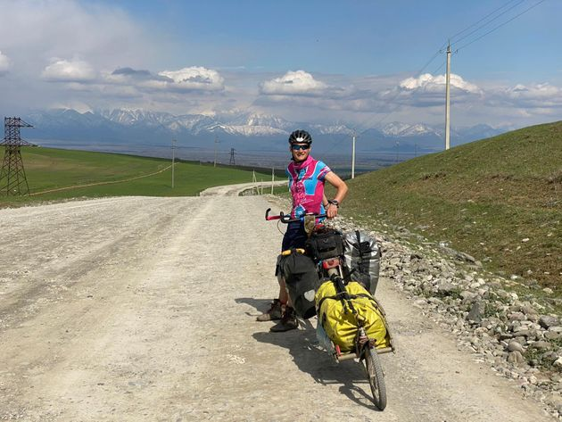 The author in Azerbaijan, where he is currently cycling, April 2021.