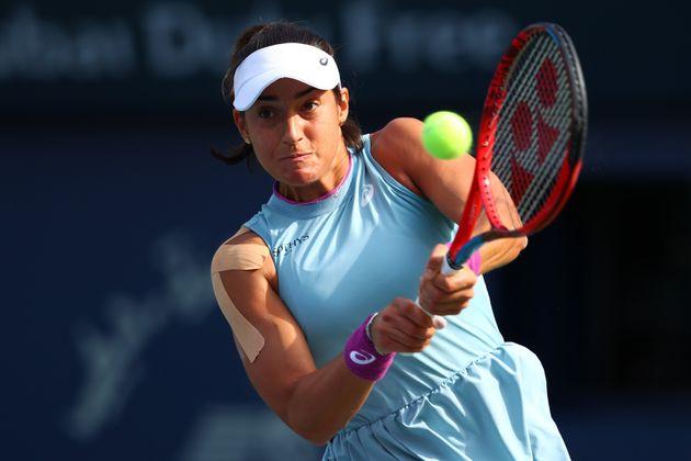 Caroline Garcia, ici face à Elise Mertens le 10 mars 2021 au tournoi de Dubaï, est à...